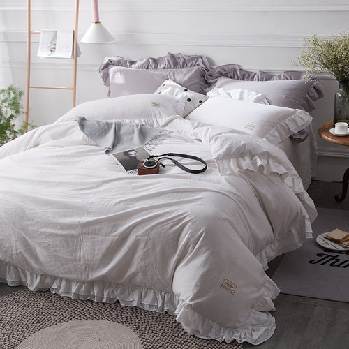 Mill MaisonMill Maison SOFIA 100% COTTON WHITE GREY SOFT DREAMY RUFFLES DUVET QUILT COVER SET - Home Decor SOFIA 100% COTTON WHITE GREY SOFT DREAMY RUFFLES DUVET QUILT COVER SET - Home Styling Ideas