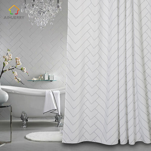 Mill MaisonMill Maison ELEGANT SILVER GREY CHEVRON DESIGN FABRIC SHOWER BATHTUB CURTAIN - Home Decor ELEGANT SILVER GREY CHEVRON DESIGN FABRIC SHOWER BATHTUB CURTAIN - Home Styling Ideas