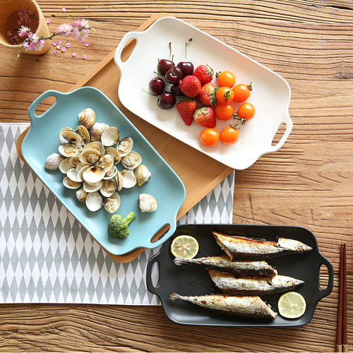 Mill MaisonMill Maison LANI DINNERWARE RECTANGLE PORCELAIN DINNERWARE SERVING PLANT WITH HANDLES - Home Decor LANI DINNERWARE RECTANGLE PORCELAIN DINNERWARE SERVING PLANT WITH HANDLES - Home Styling Ideas
