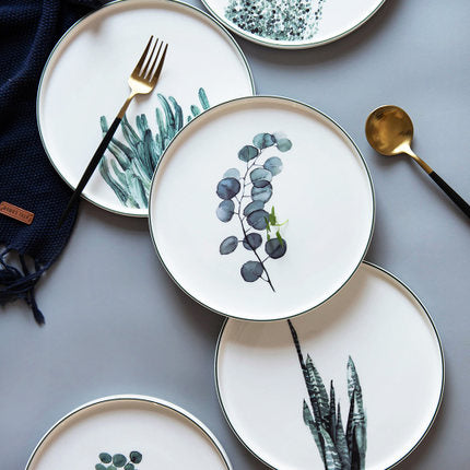Mill MaisonMill Maison KANI ARTISTRY WATERCOLOR BLUE GREEN BOTANICALS LARGE WIDE FLAT BONE CHINA CERAMIC DINNERWARE PLATE - Home Decor KANI ARTISTRY WATERCOLOR BLUE GREEN BOTANICALS LARGE WIDE FLAT BONE CHINA CERAMIC DINNERWARE PLATE - Home Styling Ideas