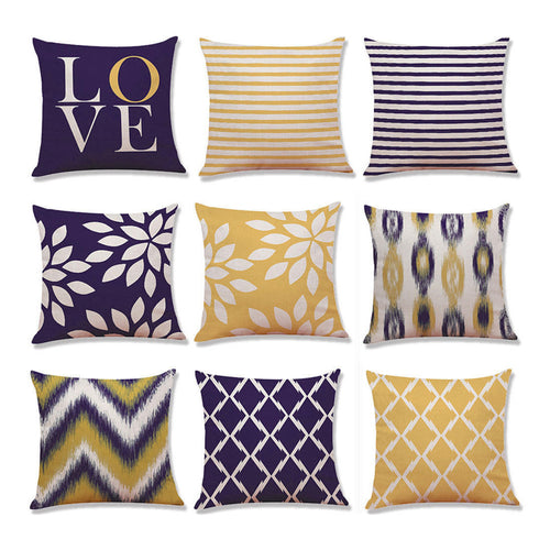 Mill MaisonMill Maison DECORATIVE DEEP PURPLE MUSTARD YELLOW CONTEMPORARY DESIGN CUSHION COVERS - Home Decor DECORATIVE DEEP PURPLE MUSTARD YELLOW CONTEMPORARY DESIGN CUSHION COVERS - Home Styling Ideas