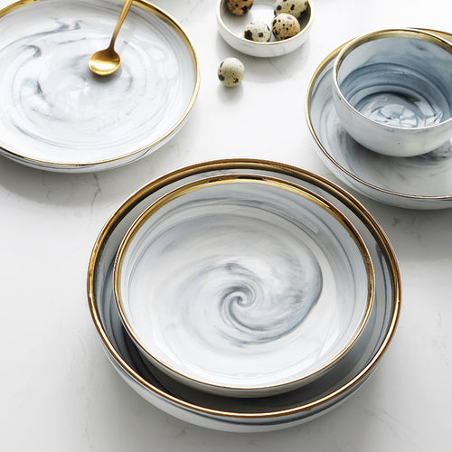 Mill MaisonMill Maison ANNIE CONTEMPORARY ELEGANT MARBLE GOLD RIM PORCELAIN CERAMIC FINE DINNERWARE DISH PLATE BOWL SET - Home Decor ANNIE CONTEMPORARY ELEGANT MARBLE GOLD RIM PORCELAIN CERAMIC FINE DINNERWARE DISH PLATE BOWL SET - Home Styling Ideas