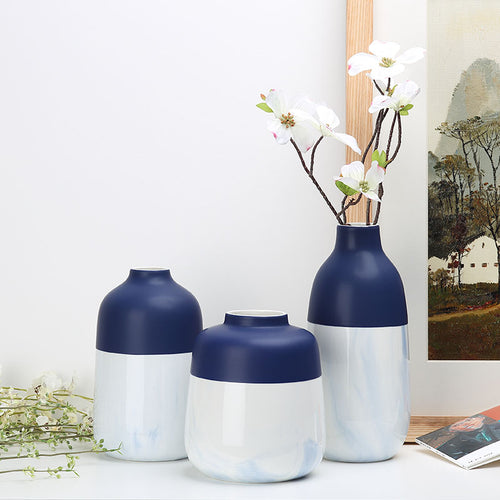 Mill MaisonMill Maison MARINA MODERN TWO TONE BLUE MARBLE CERAMIC TABLETOP HAND PAINTED FLOWER PLANT VASE - Home Decor MARINA MODERN TWO TONE BLUE MARBLE CERAMIC TABLETOP HAND PAINTED FLOWER PLANT VASE - Home Styling Ideas