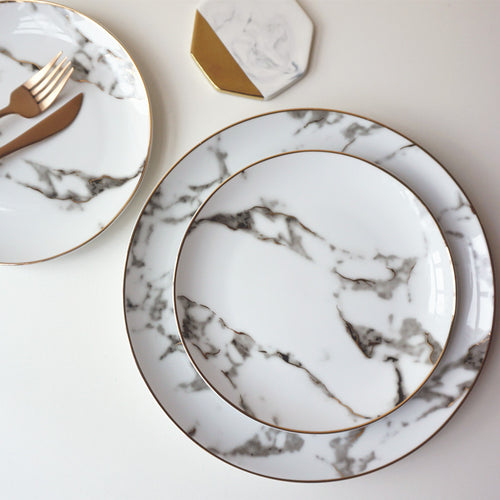 Mill MaisonMill Maison JULIA CONTEMPORARY ELEGANT MARBLE GOLD RIM PORCELAIN CERAMIC FORMAL DINNERWARE PLATE - Home Decor JULIA CONTEMPORARY ELEGANT MARBLE GOLD RIM PORCELAIN CERAMIC FORMAL DINNERWARE PLATE - Home Styling Ideas