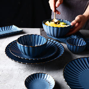 Mill MaisonMill Maison CHRYSANTHEMUM SCALLOP INDIGO BLUE DECORATIVE CERAMIC DINNERWARE DISH COLLECTION - Home Decor CHRYSANTHEMUM SCALLOP INDIGO BLUE DECORATIVE CERAMIC DINNERWARE DISH COLLECTION - Home Styling Ideas