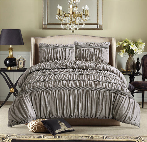 Mill MaisonMill Maison WINCHESTER  RUCHED PLEAT LUXURY CHAMPAGNE WHITE DUVET QUILT COVER SET - Home Decor WINCHESTER  RUCHED PLEAT LUXURY CHAMPAGNE WHITE DUVET QUILT COVER SET - Home Styling Ideas