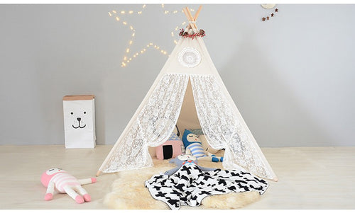 Mill MaisonMill Maison OSHI LACE INDIAN TIPI TEEPEE PLAY TENT FOLDABLE GIRLS PLAYHOUSE - Home Decor OSHI LACE INDIAN TIPI TEEPEE PLAY TENT FOLDABLE GIRLS PLAYHOUSE - Home Styling Ideas