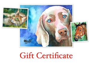 Custom Pet Portrait Gift Certificate - Ron Krajewski Art