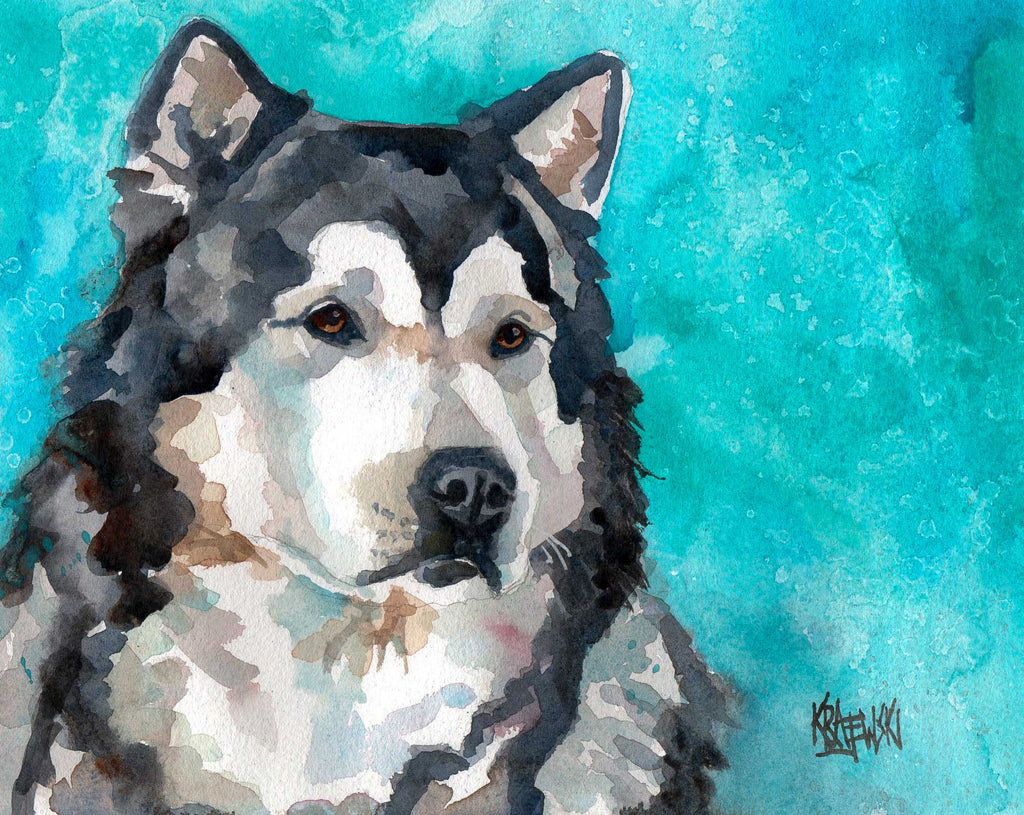 Malamute Original Watercolor Painting - Ron Krajewski Art