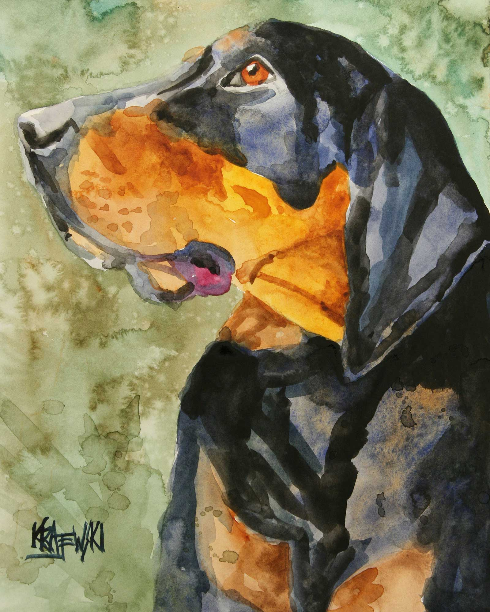 Black and Tan Coonhound Art Print - Ron Krajewski Art