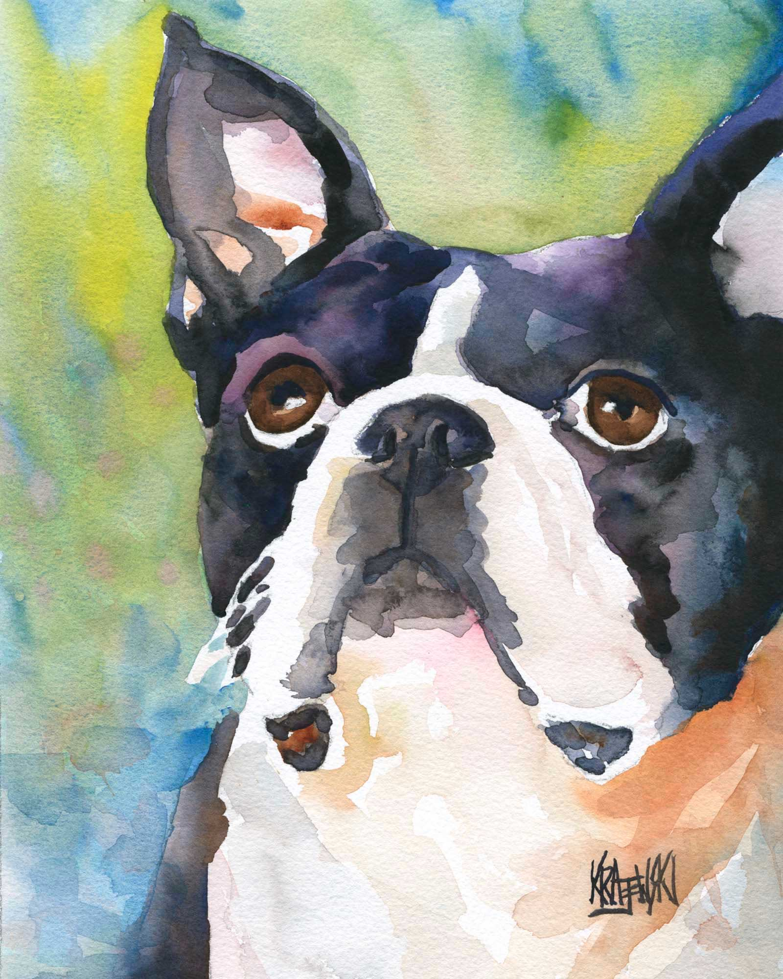 Boston Terrier Art Print - Ron Krajewski Art
