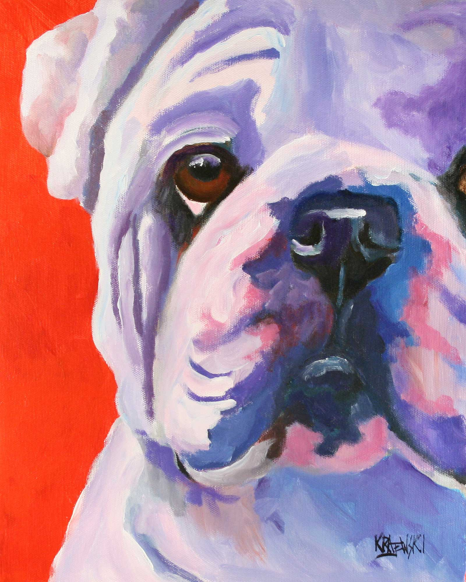 Bulldog Art Print - Ron Krajewski Art