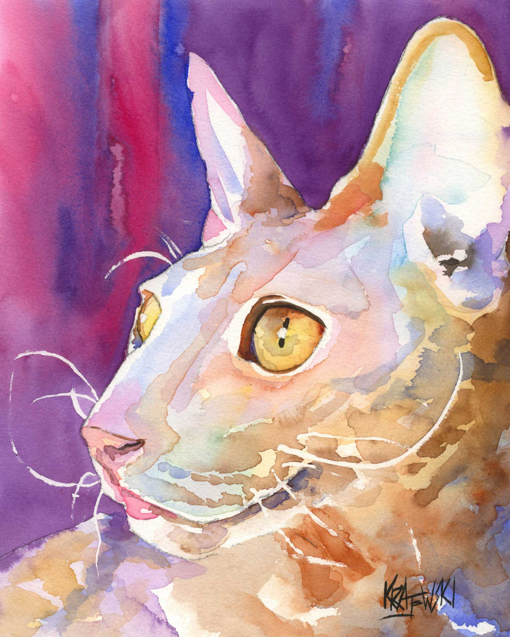 Cornish Rex Cat Art Print - Ron Krajewski