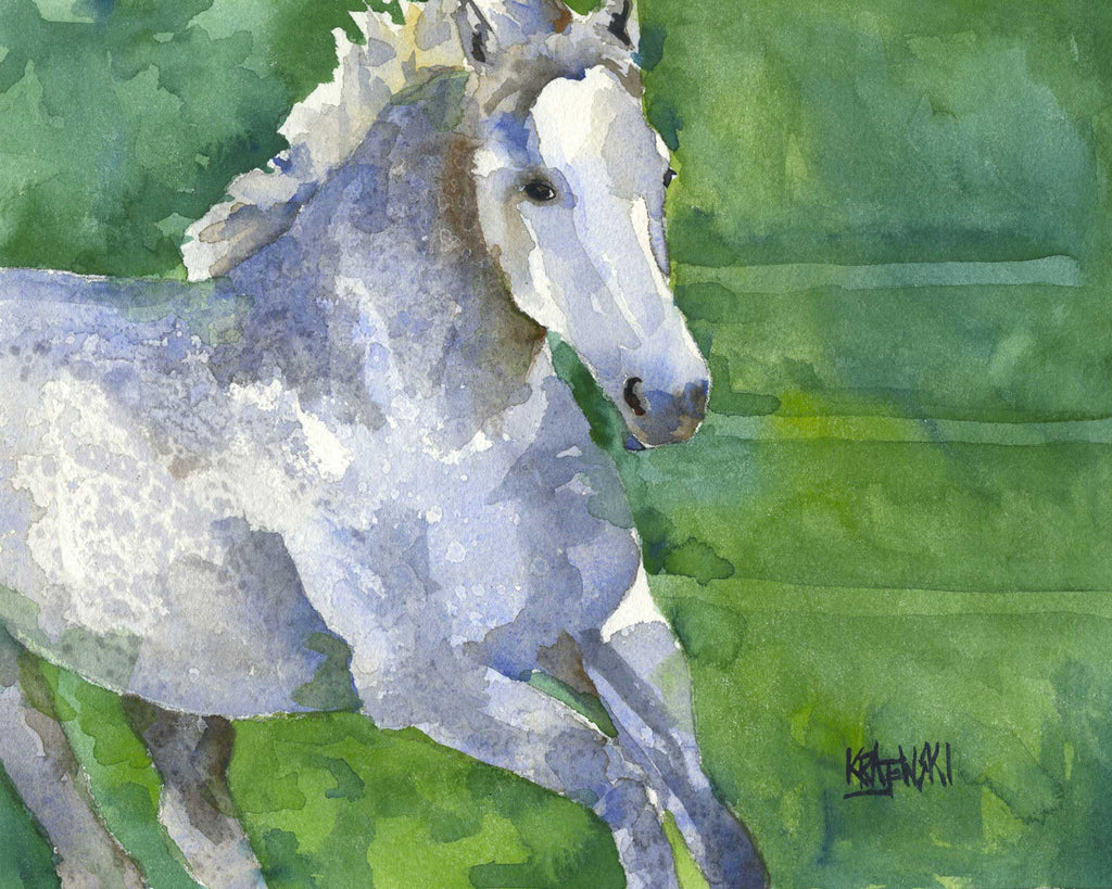 Gray Horse Running Art Print - Ron Krajewski Art