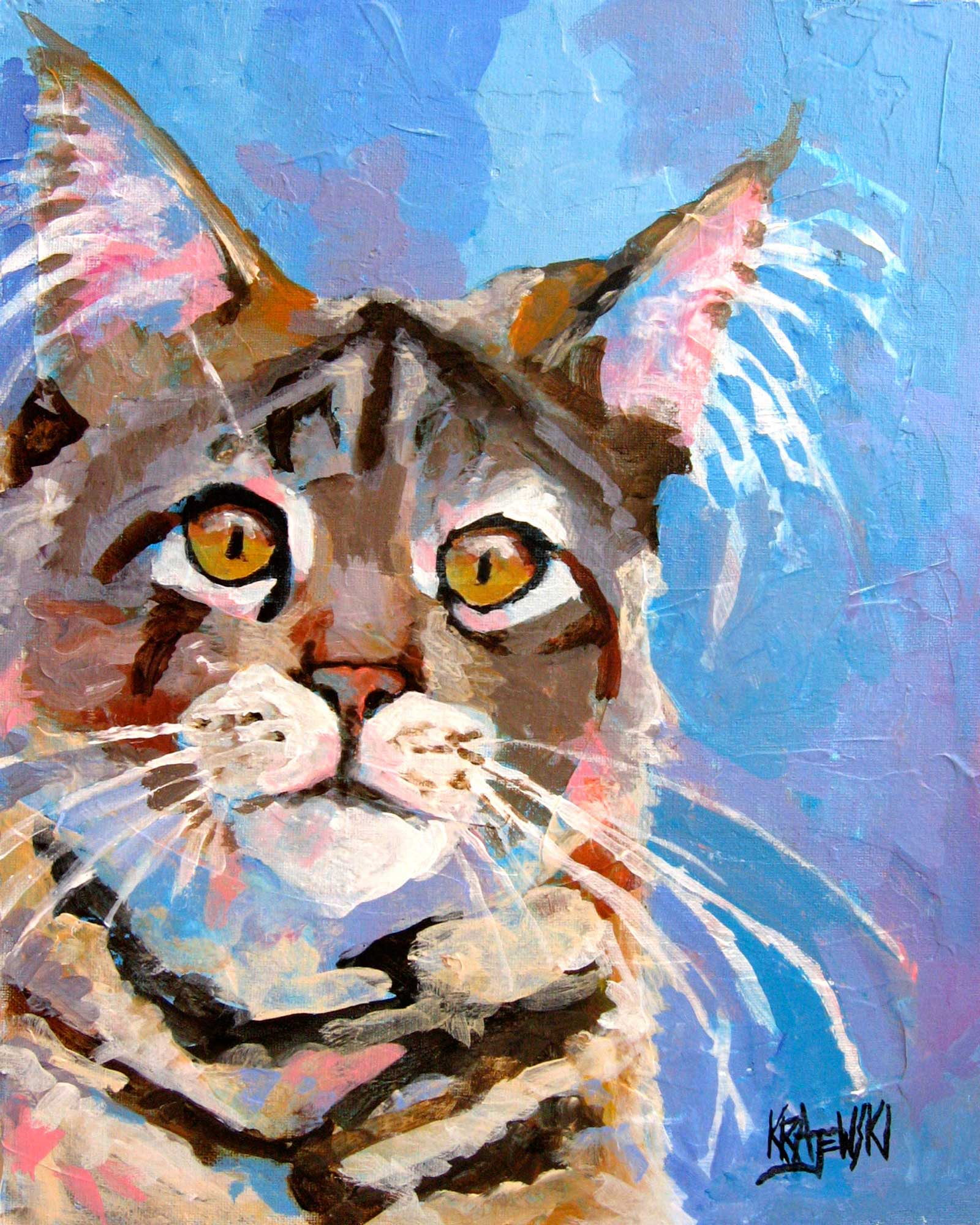Maine Coon Cat 112708 - Ron Krajewski Art