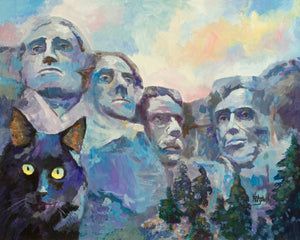 Black Cat at Mt. Rushmore Art Print - Ron Krajewski Art