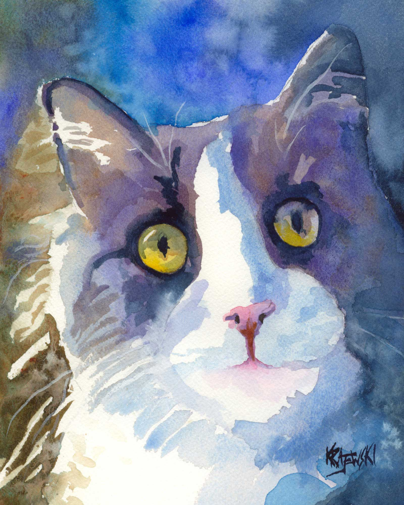 Gray Tuxedo Cat (Stewart) Art Print - Ron Krajewski Art