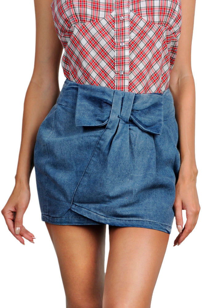 Bow Denim Skirt
