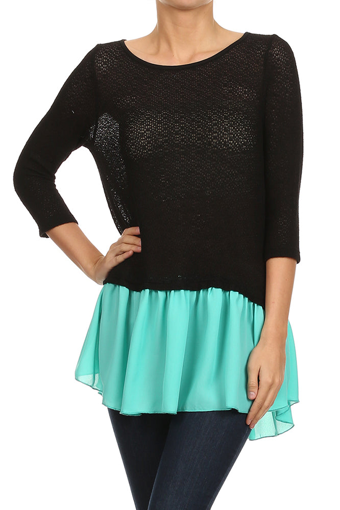 Ruffle Hem Knit Top in Black and Mint