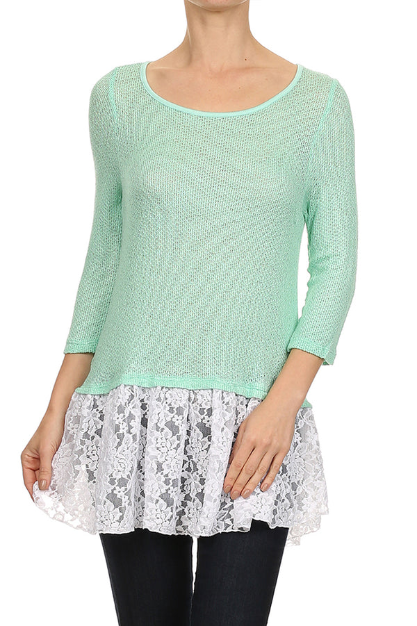 Ruffle Hem Knit Top in Mint and White