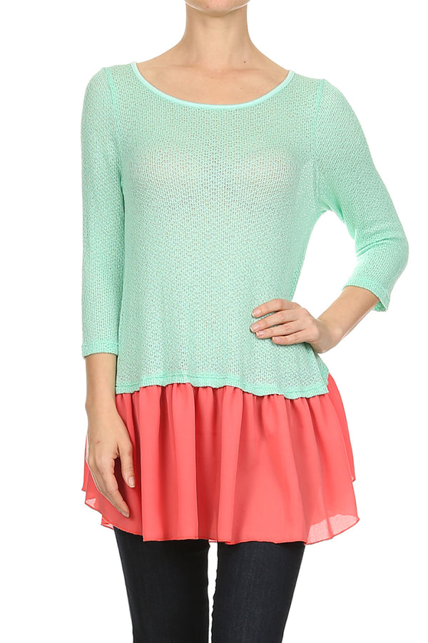 Ruffle Hem Knit Top in Mint and Coral