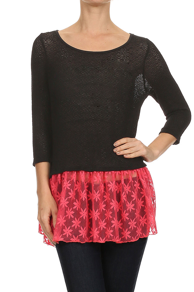 Ruffle Hem Knit Top in Black and Pink
