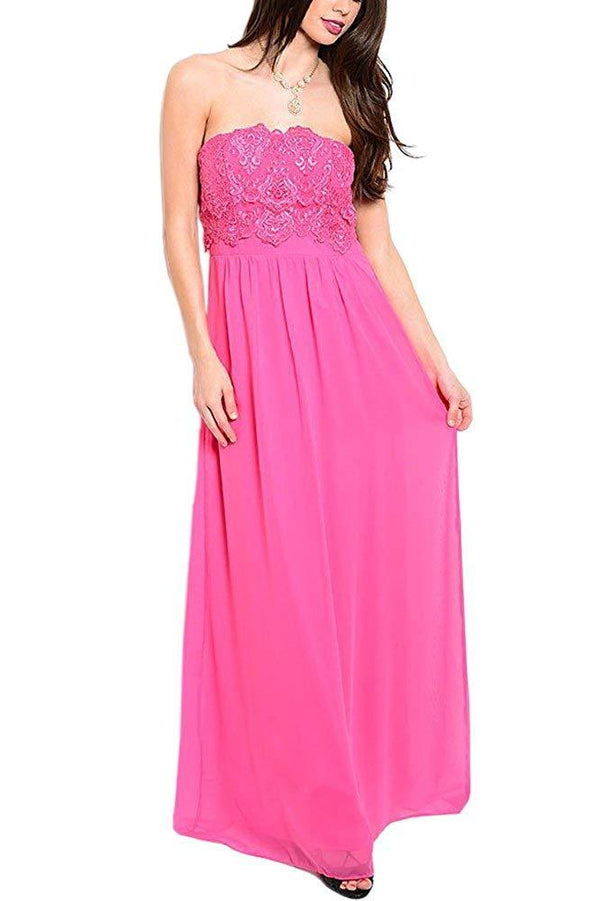 Strapless Maxi Dress in Azalea Pink