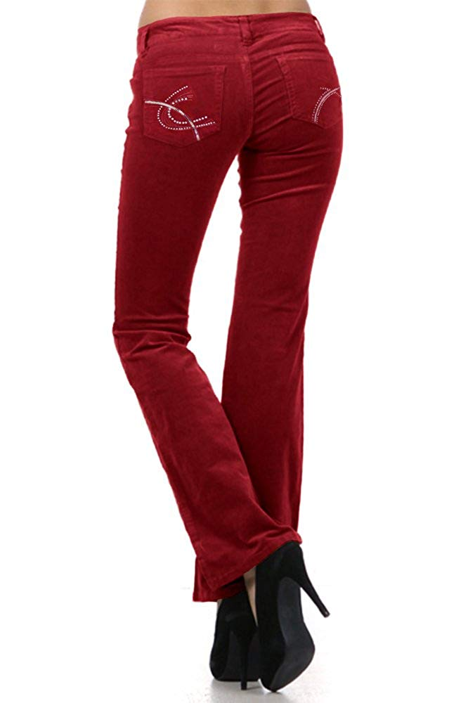 Low Rise Corduroy Jeans in Red Sequin