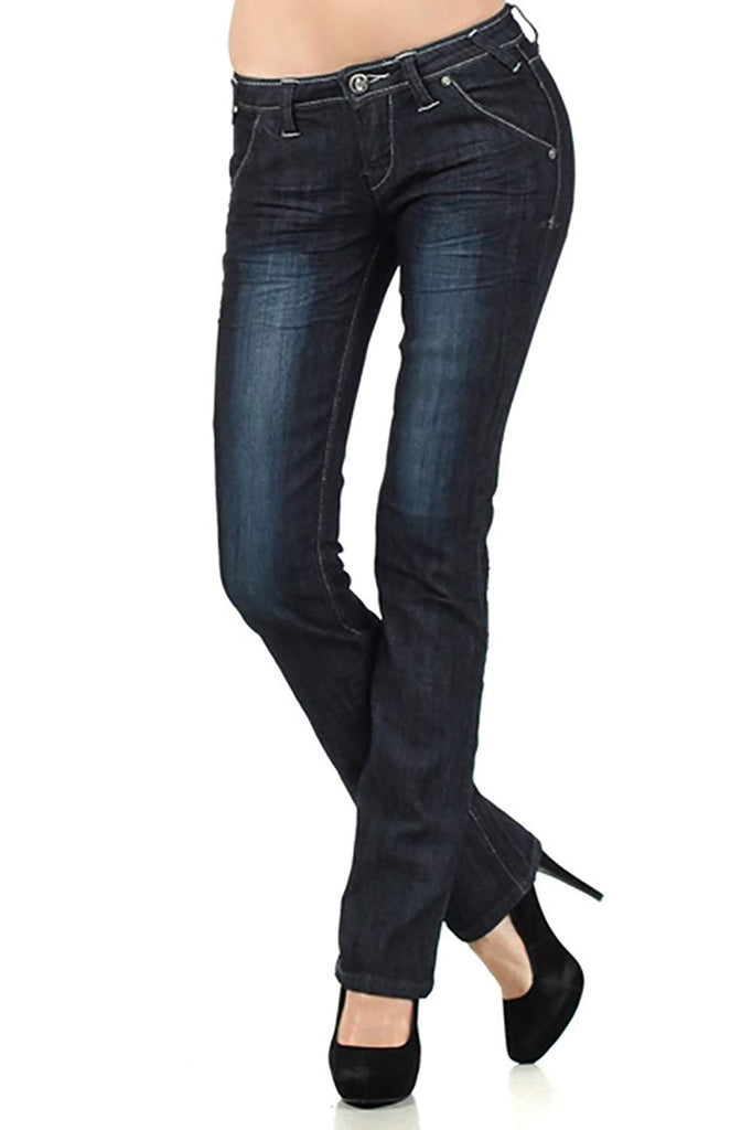 Low-Rise Bootcut Dark Wash Jeans