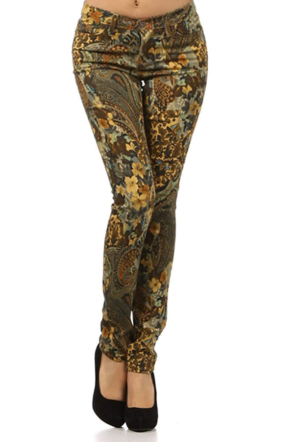 Paisley Bronze Low Rise Skinny Jeans
