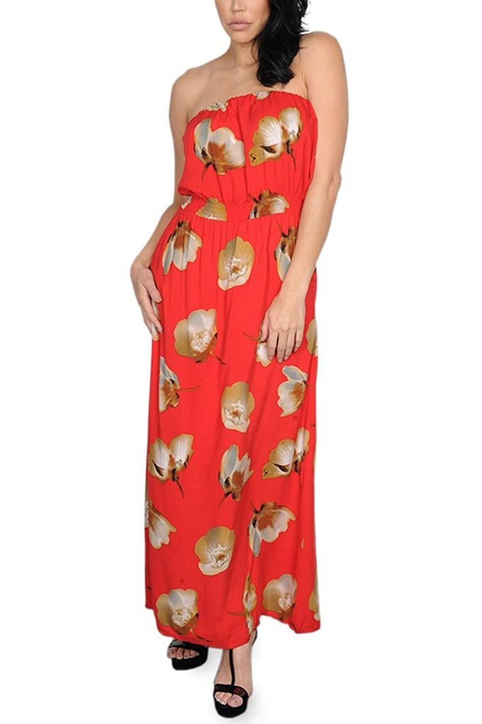 Strapless Maxi Dress in Red
