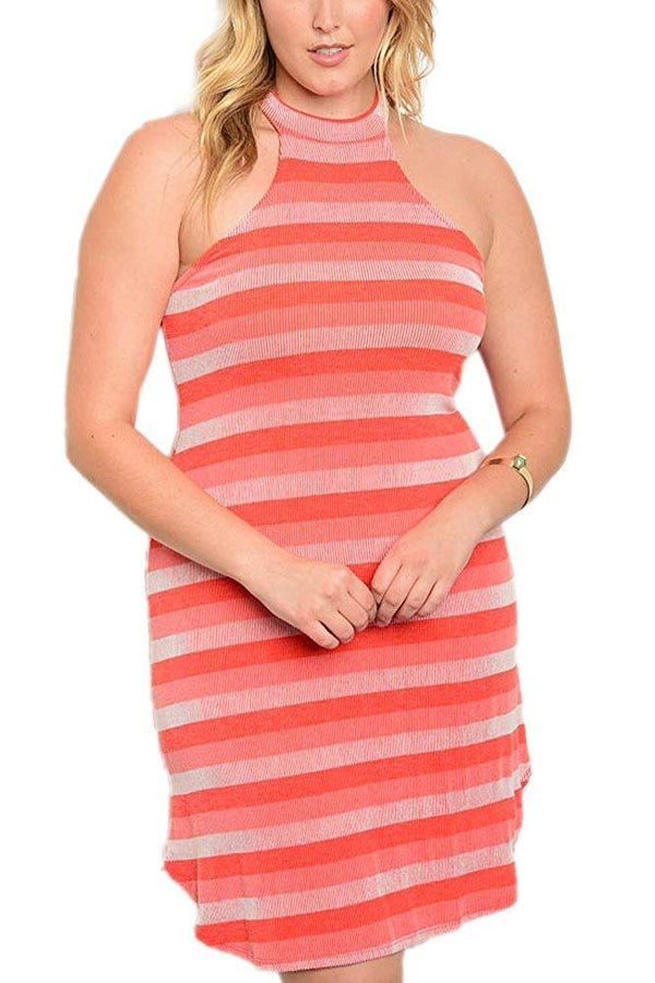 Plus Size Sleeveless Striped Pencil Dress