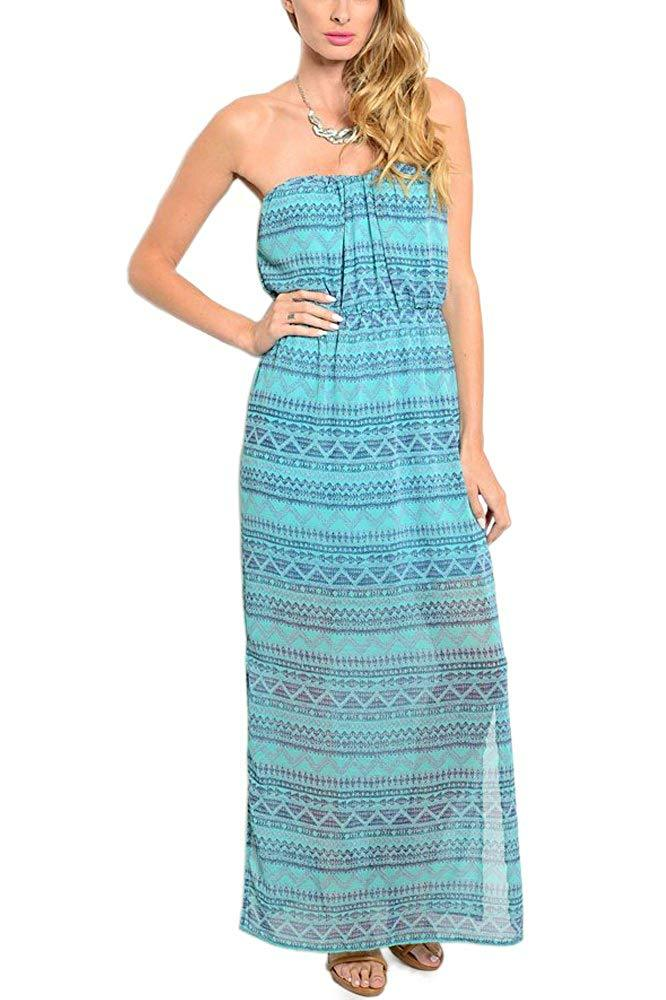 Strapless Maxi Dress in Blue