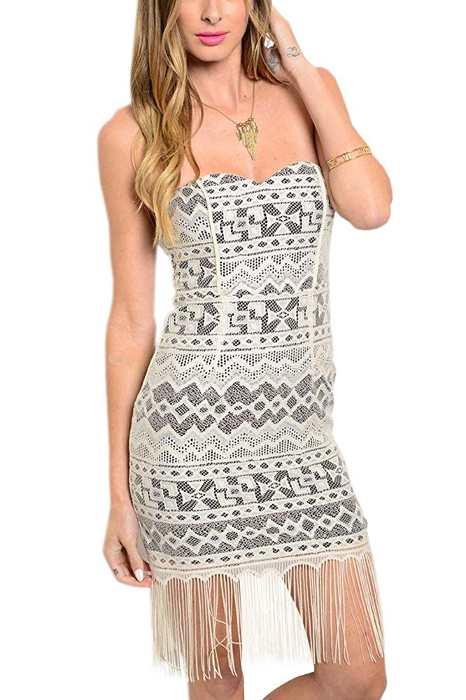 Sweetheart Neck Lace and Fringe Dress
