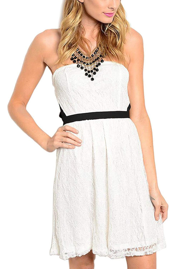 V-Neck Lace Strapless Cocktail Dress