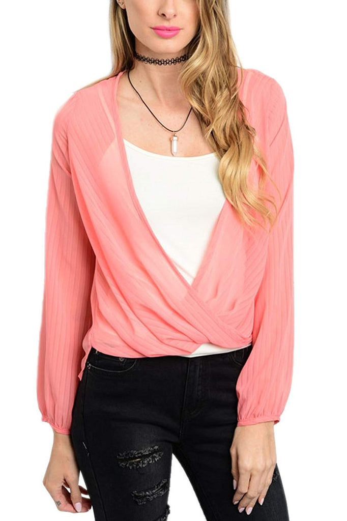 Long Sleeve Cross Surplice Blouse