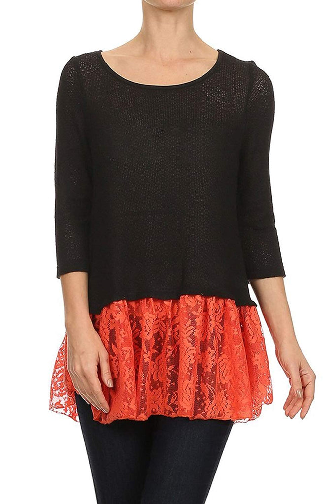 Ruffle Hem Knit Top in Black and Coral