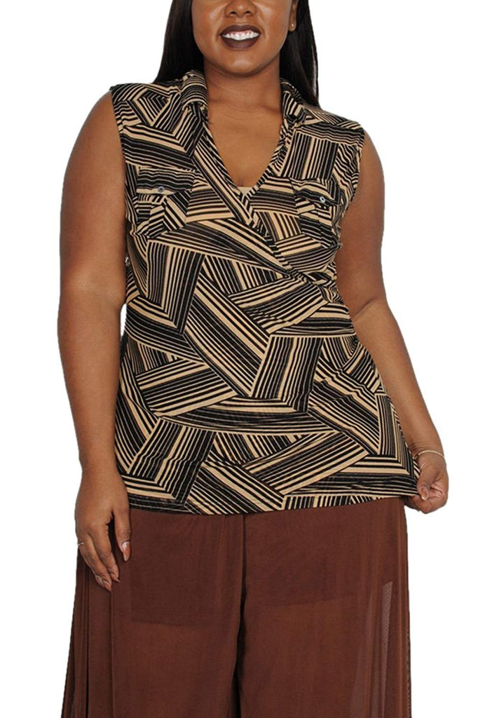 Plus Size Print V-Neck Sleeveless Blouse