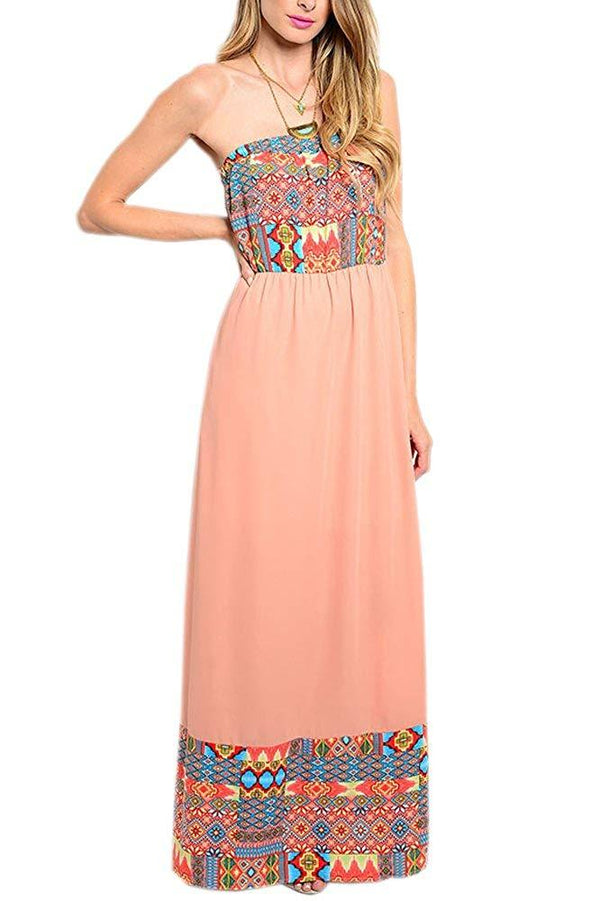 Strapless Maxi Dress in Aztec Pink
