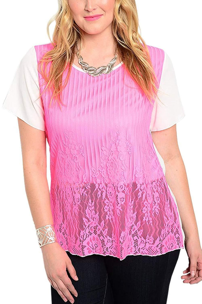 Plus Size Crewneck Pink and White Lace Top
