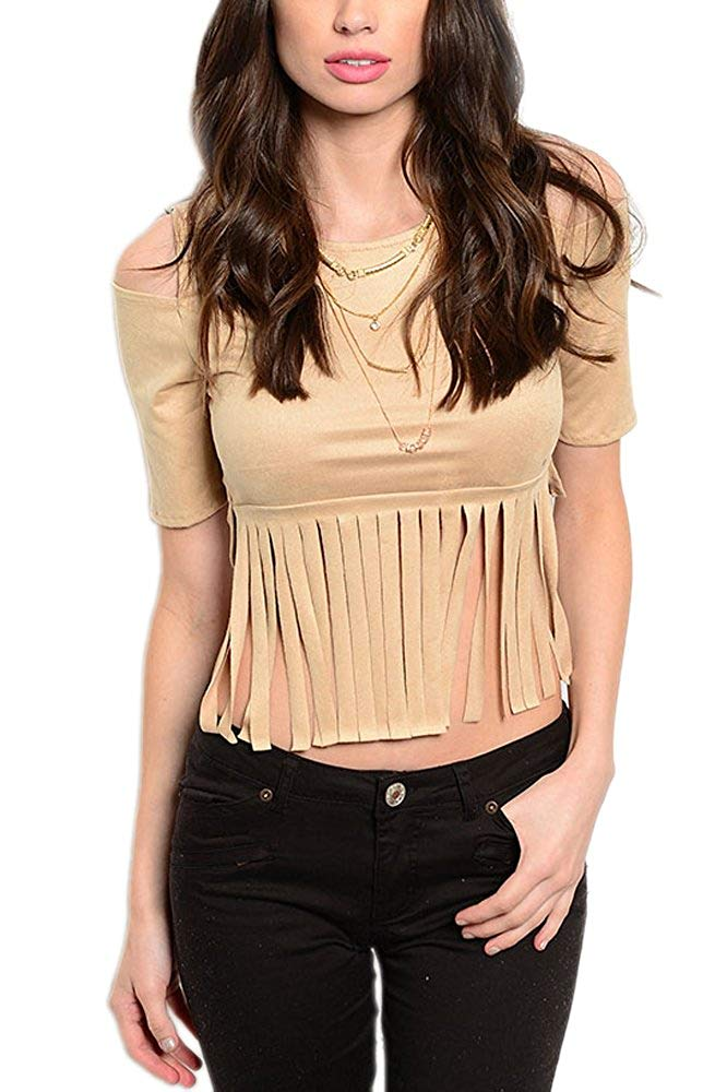 Open Shoulder Fringe Hem Top