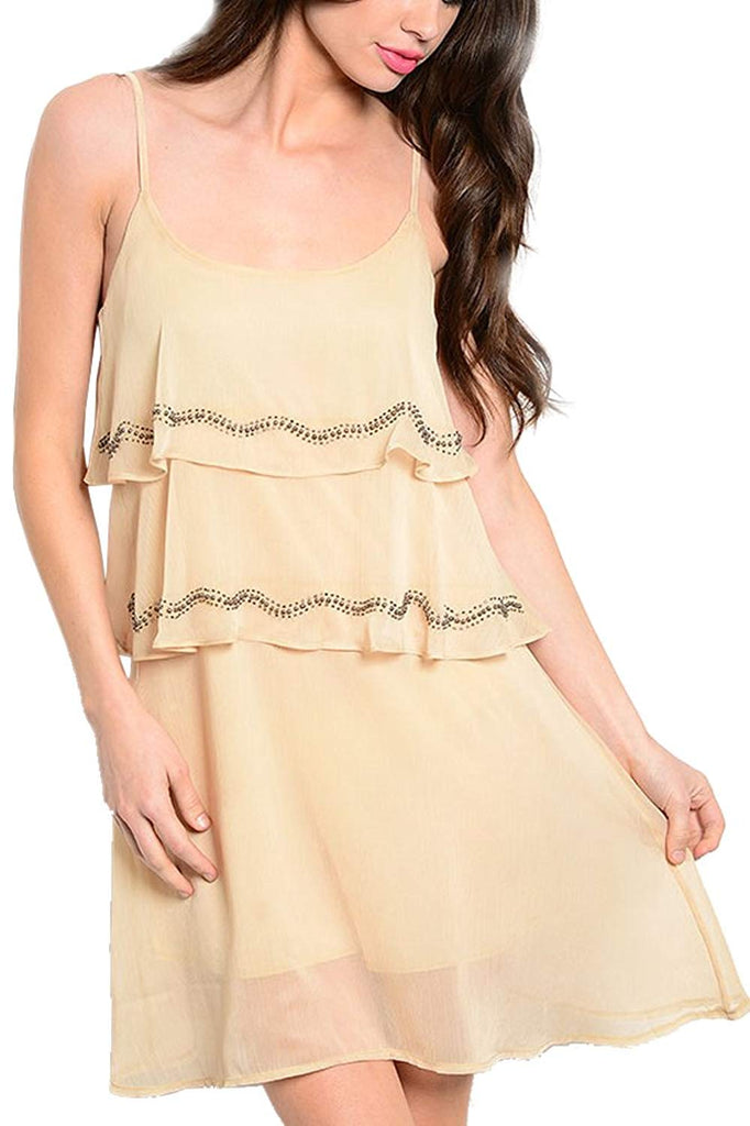 Ruffle Sheer-Overlay Dress