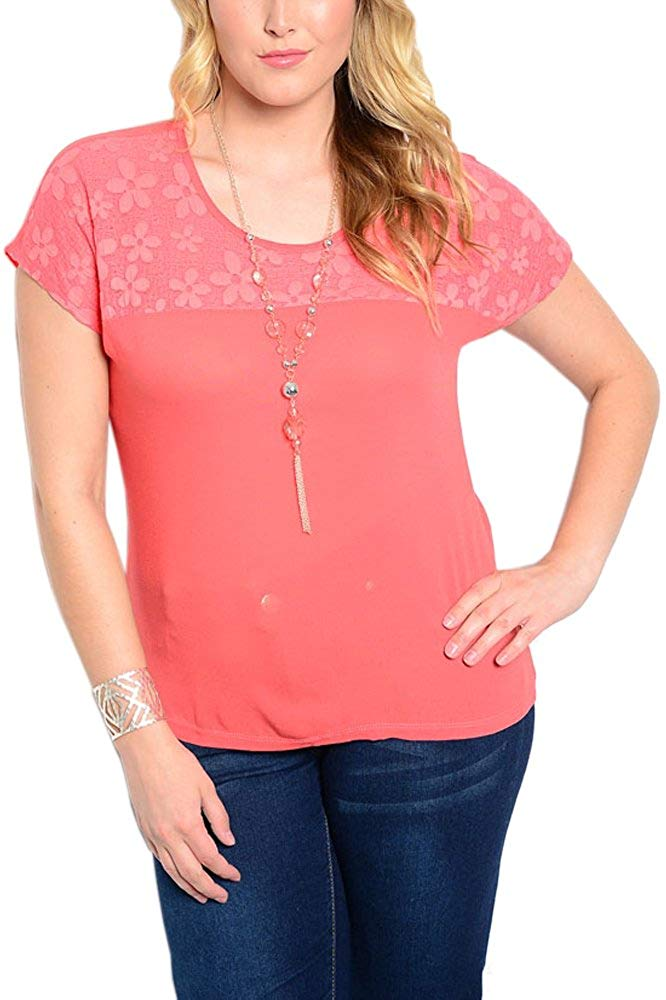 Plus Size Simple and Chic Blouse in Coral
