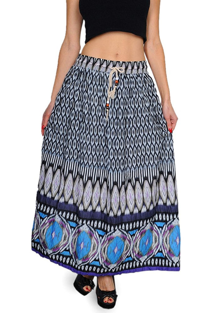 Bohemian Gypsy Maxi Skirt in Blue