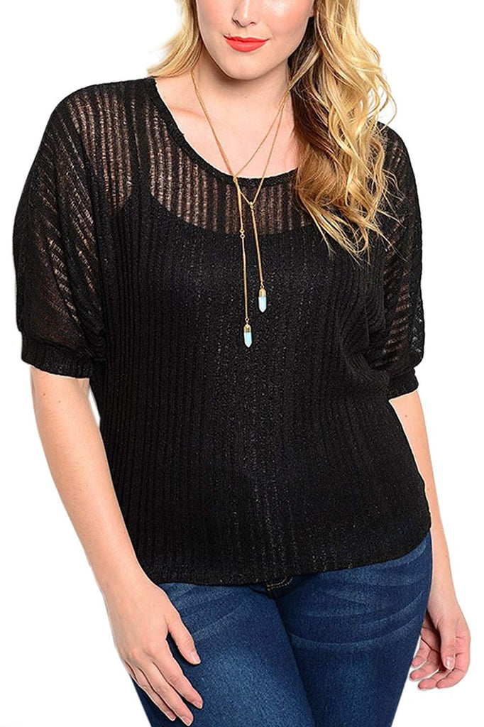 Plus Size Short Sleeve Knit Blouse