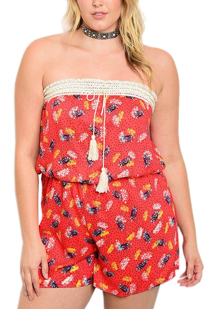 Plus Size Floral Strapless Romper