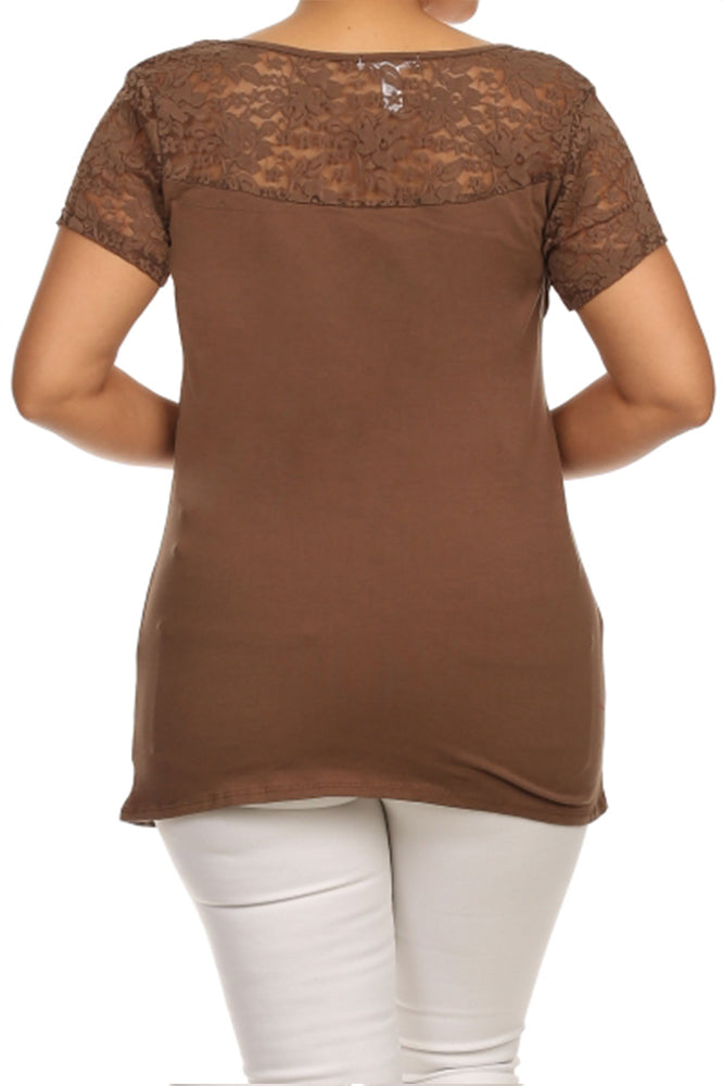 Plus Size Short Sleeve Lace Blouse in Mocha