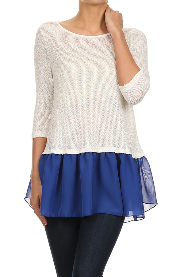 Ruffle Hem Knit Top in White and Blue
