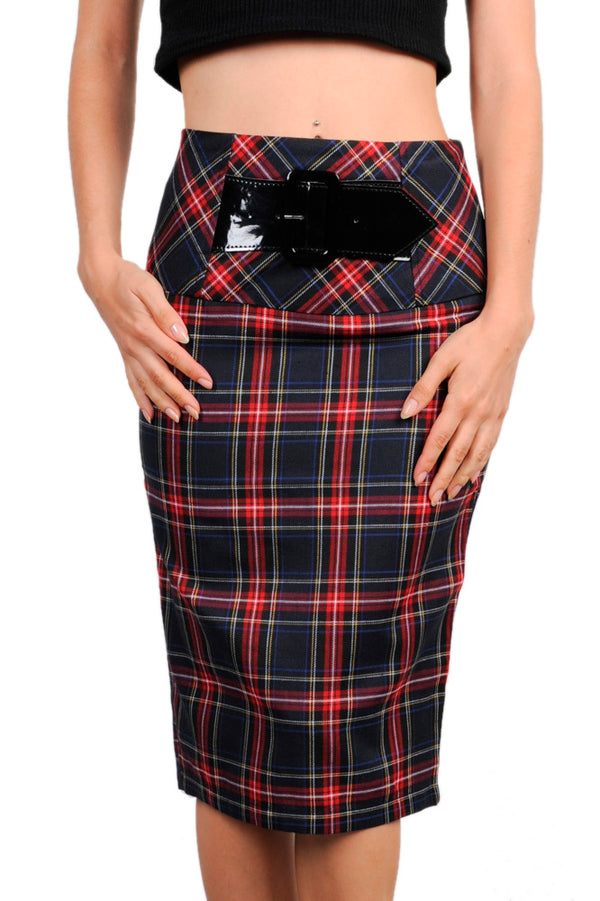 Midi Vintage Style Plaid Pencil Skirt