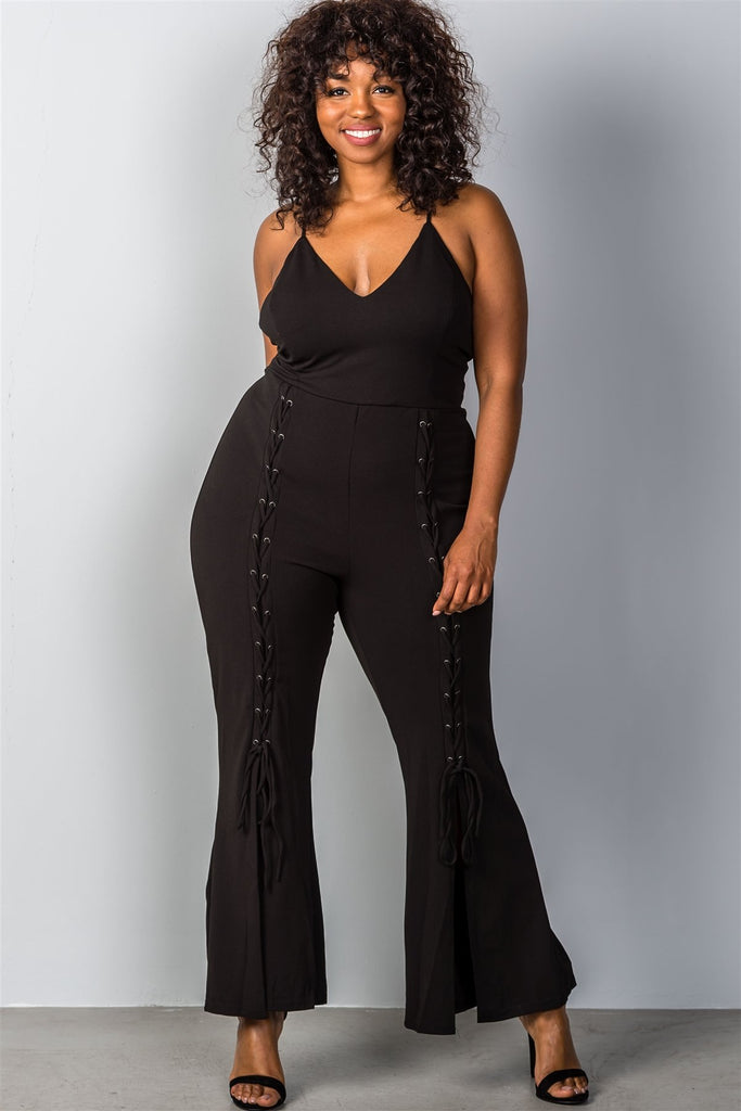 Plus Size Lace-Up Bell Bottom Leg Jumpsuit in Black